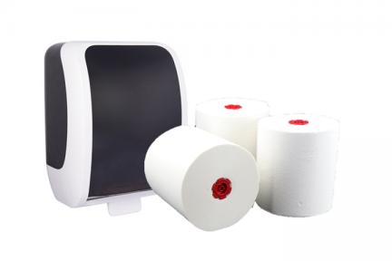 Handtuchrollenspender mit drei handtuchrollen