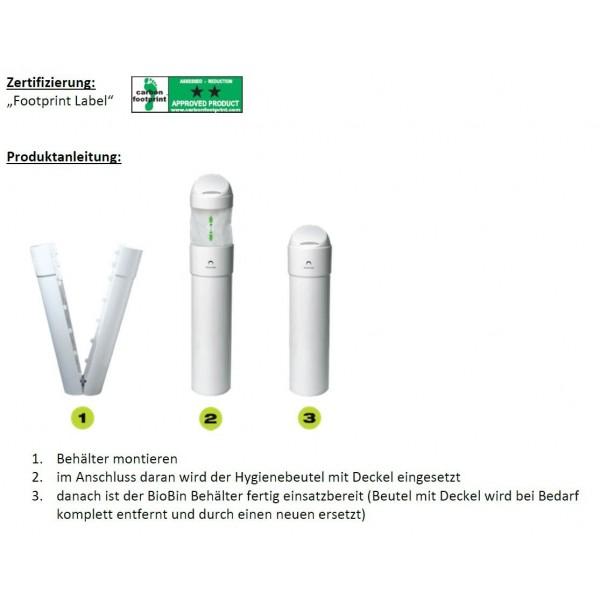 Damenhygiene Blanc BIOBin, revolutionäres, innovatives Abfall-System, Abfallbehälter, 13-Liter inkl. 1 Hygienebeutel mit Deckel