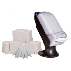 SET: Serviettenspender + 6.000 Qualitäts-Servietten weiß, Tisch- Serviettenspender (für 600 Blatt)