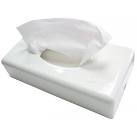 Kosmetiktuchspender FUTURA in Edelstahl oder weiß, Füllkapazität: 60 Blatt, für Wandmontage geeignet, Spender für Kosmetiktücher