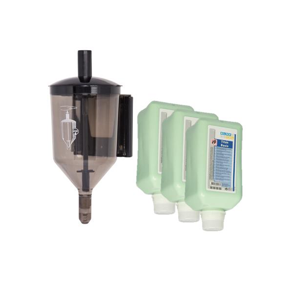 SET: Fließpastenspender 2.500 ml mit Wandhalterung + 6x 2L-Vakuumflaschen Handreinigungspaste viskose, Titan Basis pH-neutral