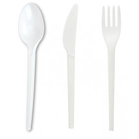 SET: Löffel + Gabel + Messer aus CPLA Einwegbesteck, 3.000 Stk, kompostierbares Bioplastik