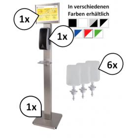 SET: Desinfektionsspender SENSOR Blanc Cosmos+6x 1-Liter Haut- u. Händedesinfektion + Bodenständer Edelstahl + prof. Hygieneplan