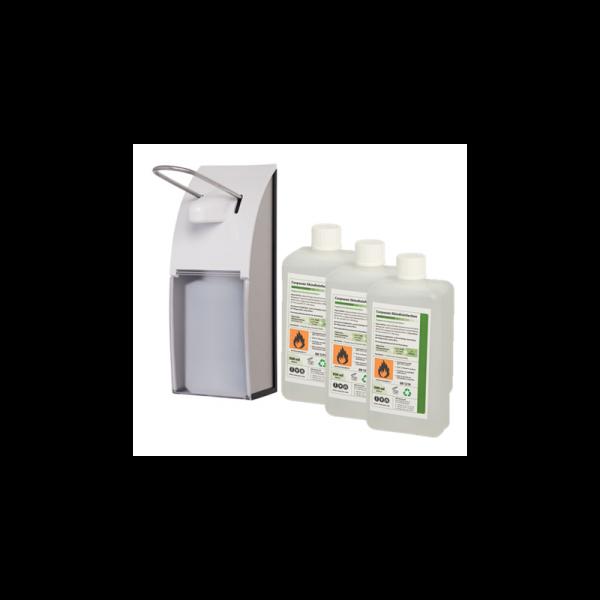 SET: Armhebelspender, EURO-Spender, EDELSTAHL + 12x 0,5-Liter Haut- und Händedesinfektion Corpusan - PRODUKTSET