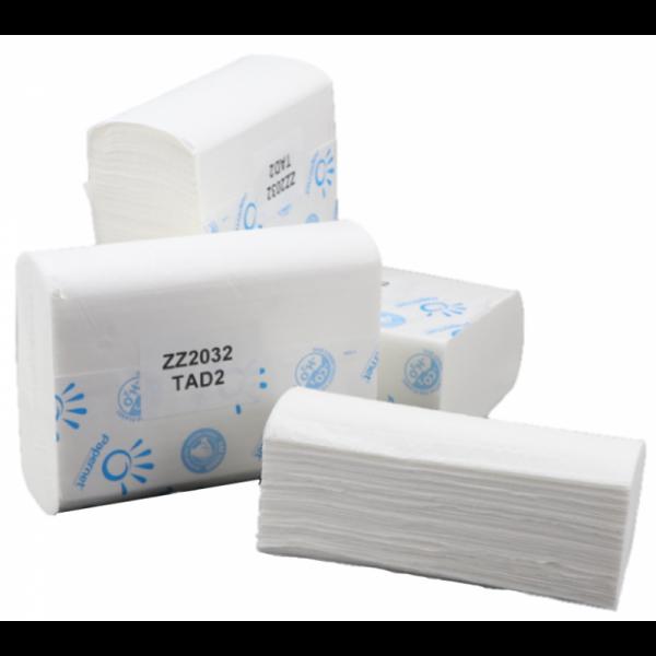 SET: Falthandtuchspender INFINITY Schwarz matt + 2.000 Blatt Handtuchpapier Zick-Zack PREMIUM Zel-TAD, Interfold, weiß, 2-lagig