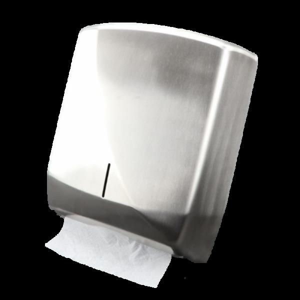 SET: Falthandtuchspender Edelstahl FUTURA + 2.000 Blatt Zick-Zack PREMIUM Handtuchpapier Zel-TAD, Interfold, weiß, 2-lagig
