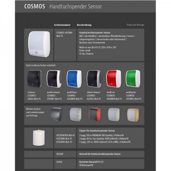 Handtuchspender SENSOR, berührungslos, Batterie & Netzbetrieb, Blattlängenregulator & weitere Innovationen, Blanc Cosmos *SALE*