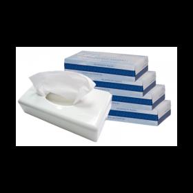 SET: Kosmetiktuchspender FUTURA weiß + 4.000 Kosmetiktücher Premium Softskin, 100% Zellstoff, angenehm weich, saugstark, reißfes