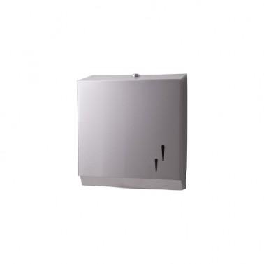 Falthandtuchspender, Papierhandtuchspender EDELSTAHL matt, mit Sichtfenster, Kapazität: 600 Faltpapiere, abschließbar