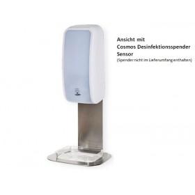 Edelstahlhalterung mit Auffangschale glasklar für Cosmos Schaumseifen- & Desinfektionsspender SENSOR