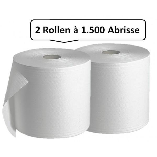Putzrolle weiß, 2 Rollen, 2-lagig, 3.000 Abrisse, 340 x 350mm, saugstark, reißfest