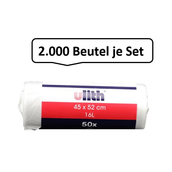 Qualitäts-Müllbeutel 16 Liter, transparent, 5my, 2.000 Beutel je SET