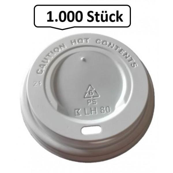 Deckel Weiß für Kaffeebecher für 0,20 l, 0,25 l, 0,30 l, Durchmesser 80 mm, 1.000 Stk