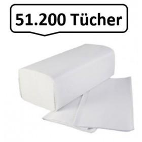 51.200 Falthandtücher, Handtuchpapier, Qualitäts- Faltpapier, 2-lagig, 100% Zellstoff, reißfest, saugstark, XXL-SET *SALE*