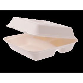 Dinnerboxen 3-geteilt aus Bagasse 250 Stück, to go, take away, biologisch abbaubar, umweltfreundlich
