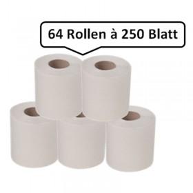 64 Toilettenpapier Toilettenpapierrollen SET, Rolle je 30m, 2-lagig, natur, saugfix, 16.000 Blatt, 10x12cm