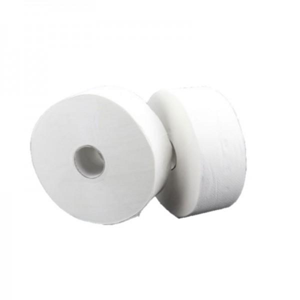 SET: 2x Jumbo-Toilettenpapierspender EDELSTAHL matt + 6 Jumborollen-Toilettenpapier 300m, 2-lagig