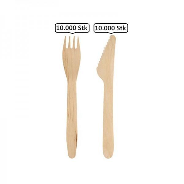 SET: Gabel + Messer aus Holz Einwegbesteck, 20.000 Stk, natur, biologisch abbaubar, 16,5cm