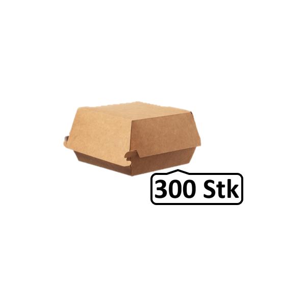 Hamburger-Box klein 300 Stk, to go, take away, biologisch abbaubar, natürliches Design, weiße Innenschicht