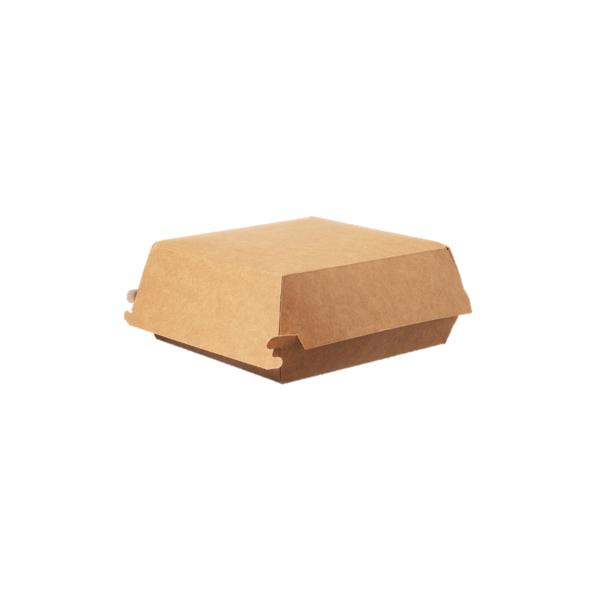 Hamburger-Box groß 400 Stk, to go, take away, biologisch abbaubar, natürliches Design, weiße Innenschicht