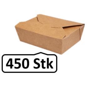 Lunch-Box 500ml 450 Stk, to go, take away, biologisch abbaubar, natürliches Design, weiße Innenschicht
