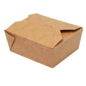 Lunch-Box 750ml 450 Stk, to go, take away, biologisch abbaubar, natürliches Design, weiße Innenschicht