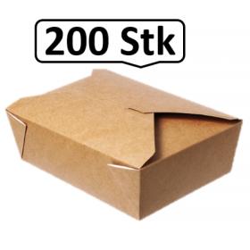 Lunch-Box 1000ml 200 Stk, to go, take away, biologisch abbaubar, natürliches Design, weiße Innenschicht