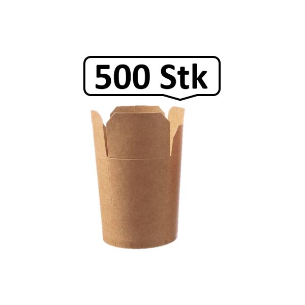 Food Container mit Faltverschluss 470ml 500 Stk, to go, take away, biologisch abbaubar, natürliches Design, Innenbeschichtung