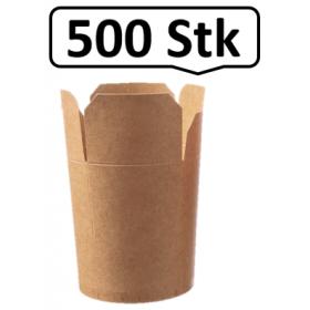 Food Container mit Faltverschluss 710ml 500 Stk, to go, take away, biologisch abbaubar, natürliches Design, Innenbeschichtung