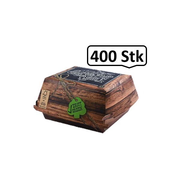 Burger-Box klein 400 Stk, to go, take away, kompostierbar, rustikales Holzmotiv, fett- und feuchtigkeitsabweisend