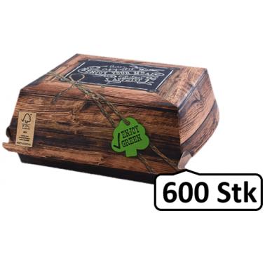 Burger-Box XXL 600 Stk, to go, take away, kompostierbar, rustikales Holzmotiv, fett- und feuchtigkeitsabweisend