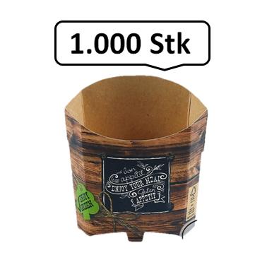 Pommes-Schütte 85 ml 1.000 Stk, to go, take away, kompostierbar, rustikales Holzmotiv, fett- und feuchtigkeitsabweisend