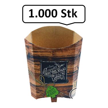 Pommes-Schütte 196 ml 1.000 Stk, to go, take away, kompostierbar, rustikales Holzmotiv, fett- und feuchtigkeitsabweisend