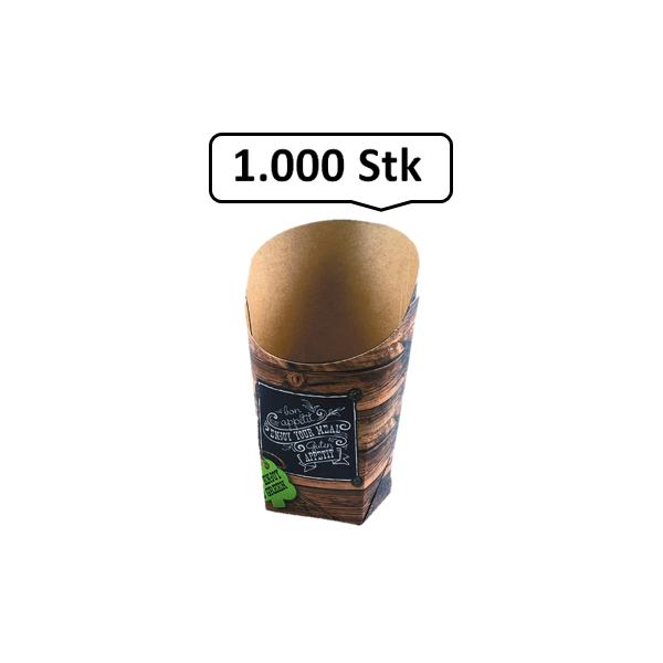 Wrap-Cup 1.000 Stk, to go, take away, kompostierbar, rustikales Holzmotiv, fett- und feuchtigkeitsabweisend