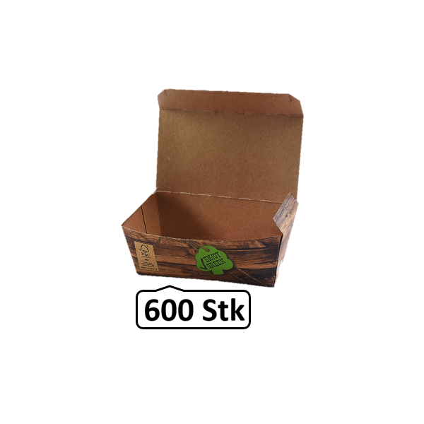 Snack-Box klein 600 Stk, to go, take away, kompostierbar, rustikales Holzmotiv, fett- und feuchtigkeitsabweisend