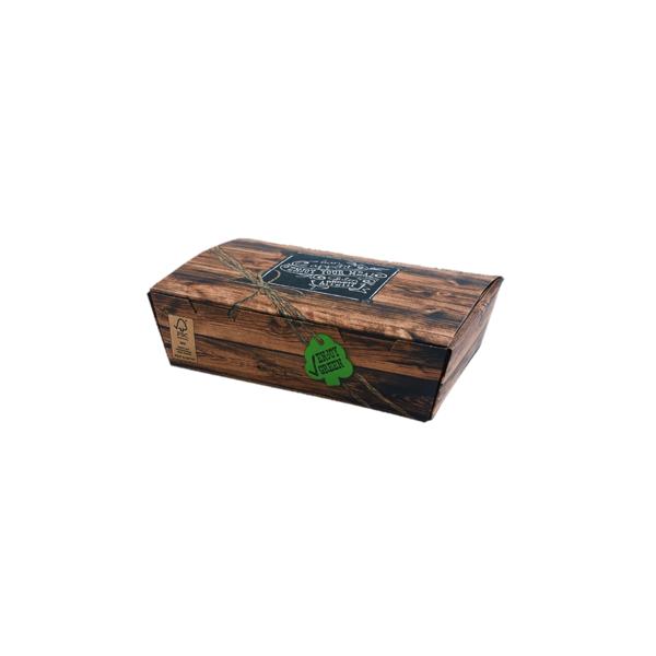 Snack-Box groß 450 Stk, to go, take away, kompostierbar, rustikales Holzmotiv, fett- und feuchtigkeitsabweisend