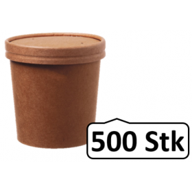 Soup Becher Suppenbehälter mit Membrandeckel 360 ml 12 oz 500 Stk, to go, take away, kompostierbar, natürliches Design