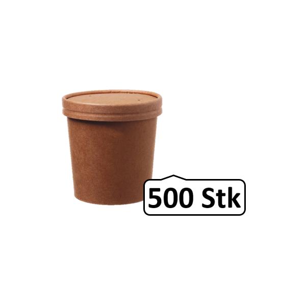 Soup Becher Suppenbehälter mit Membrandeckel 360 ml 12 oz 500 Stk, to go, take away, kompostierbar, natürliches Design