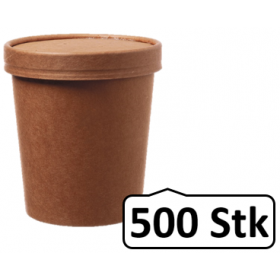 Soup Becher Suppenbehälter mit Membrandeckel 480 ml 16 oz 500 Stk, to go, take away, kompostierbar, natürliches Design