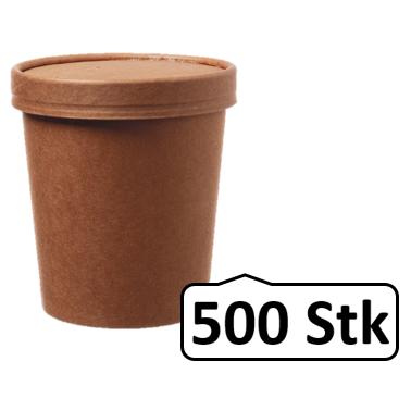 Soup Becher Suppenbehälter mit Membrandeckel 480 ml 16 oz 500 Stk, to go, take away, kompostierbar, natürliches Design