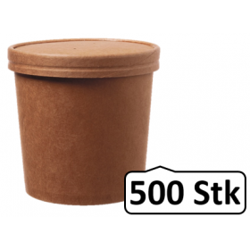 Soup Becher Suppenbehälter mit Membrandeckel 750 ml 26 oz 500 Stk, to go, take away, kompostierbar, natürliches Design