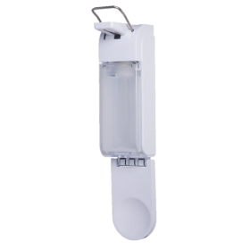 SET: Armhebelspender Blanc UNIVERSAL + Bodenständer Edelstahl mit Infotafel + Händedesinfektion 6 Flaschen à 500 ml