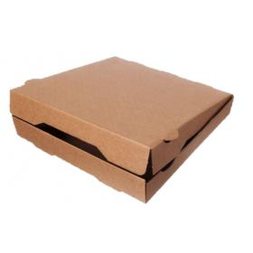Pizzakarton Pizzabox Flammkuchenbox braun unbedruckt 100 Stk, to go, take away, kompostierbar, Kraftkarton, fettresistent