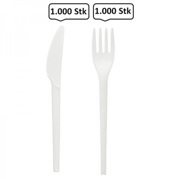 SET: Gabel + Messer aus CPLA Einwegbesteck, 2.000 Stk, kompostierbares Bioplastik