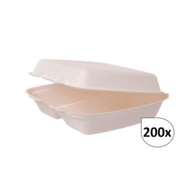 Menüboxen 2-geteilt aus Bagasse 200 Stück, to go, take away, biologisch abbaubar, umweltfreundlich