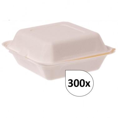 Burgerboxen Pommesboxen Standard IP6 XL aus Bagasse 300 Stück, to go, take away, biologisch abbaubar, umweltfreundlich