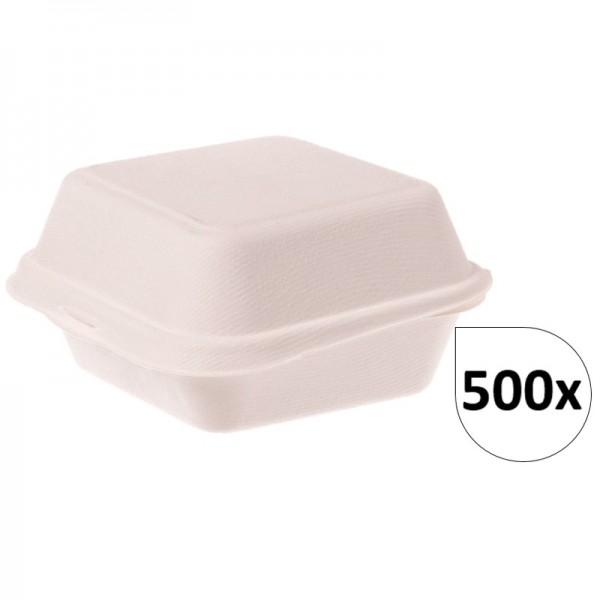 Burgerboxen Pommesboxen Standard IP6 aus Bagasse 500 Stück, to go, take away, biologisch abbaubar, umweltfreundlich