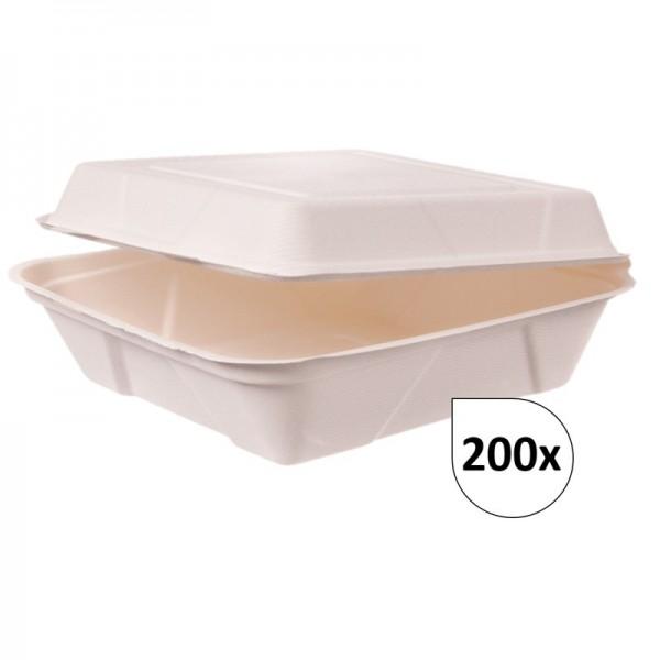 Dinnerboxen ungeteilt aus Bagasse 200 Stück, to go, take away, biologisch abbaubar, umweltfreundlich