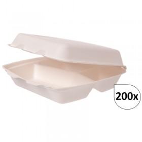 Menüboxen 3-geteilt aus Bagasse 200 Stück, to go, take away, biologisch abbaubar, umweltfreundlich
