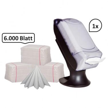 SET: Serviettenspender XXL + 6.000 Qualitäts-Servietten weiß, 100% Zellstoff, Tisch- Serviettenspender (für 600 Blatt)